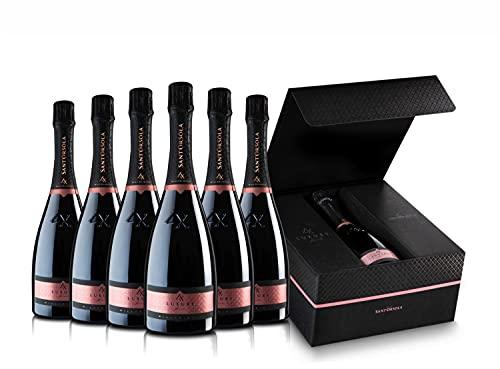 Sant'Orsola Prosecco DOC Rosè LX Brut Millesimato Vino Espumoso Italiano Seco - 6 Botellas X 750ml