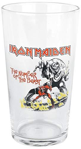 Iron Maiden Number Of The Beast Unisex Vaso de cerveza transparente, v