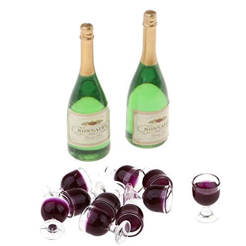 SM SunniMix 10 PCS 1/12 Miniatura Copa de Vino + 2 PCS Botella de Vino, Muebles para Casas de Muñecas Accesorios - Verde + Rojo Claro