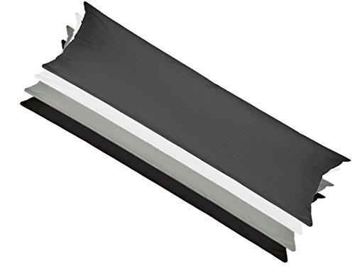 Bezug für Seitenschläferkissen z.B für Hefel 35x160 cm, Kissenbezug grau