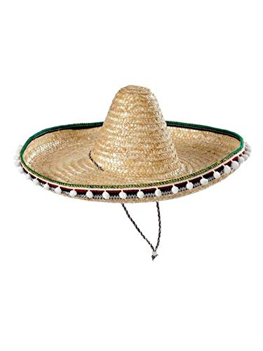 DISBACANAL Sombrero Mejicano de Paja 45cm - Beige, Unica