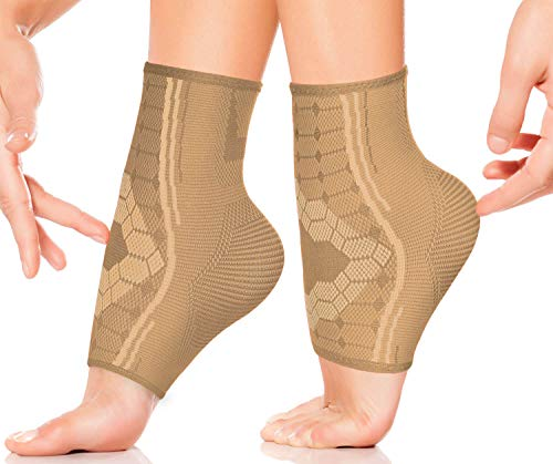 Ankle Compression Sleeves by SPARTHOS (Pair) - Immediate Pain Relief - Plantar Fasciitis Socks with Arch Support (Medium, Desert Beige)