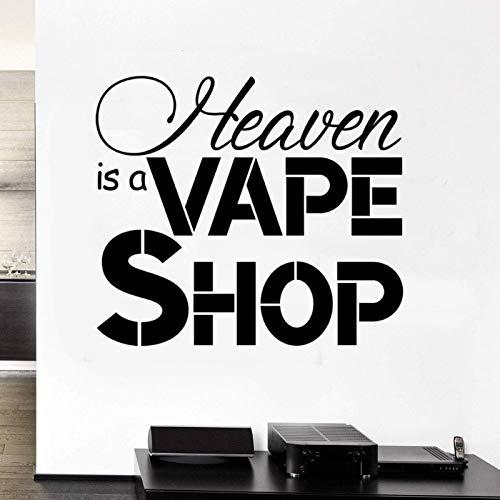 AGiuoo Vape Shop Cita Texto Letras Calcomanía de Pared Etiqueta de Vinilo Tienda de Vape y decoración del hogar extraíble 64x57cm