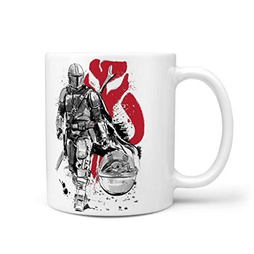 keqing Photo Coffee Mugs Mandalorian Bounty Hunter Logo 2 Office Mug with Handle Funny Text for Wife Ceramic Coffee Cups for Family White 11oz