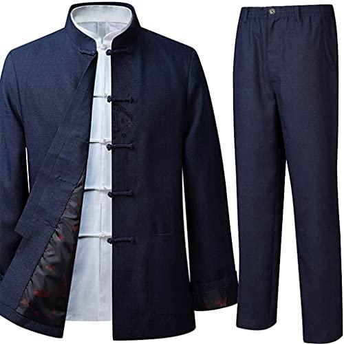 Traje Tang Hombres tradicionales chinos Algodón azul y lino Ropa Hanfu Camisa de Kung Fu Uniforme Ejercicios matutinos Abrigo y pantalones de manga larga