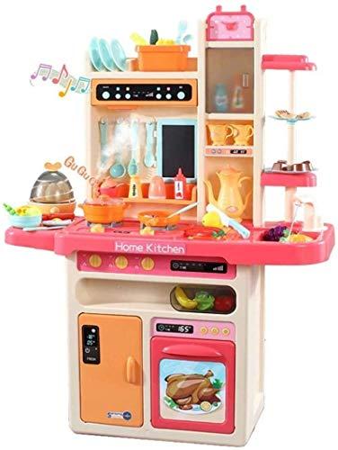 YLLN Juego de cocina para niños, comida de simulación, más de 40 piezas, juego de accesorios de juguetes de cocina con sonido y luz reales, agua corriente, vapor, regalos para niñas de 2,3,4 años, niñ