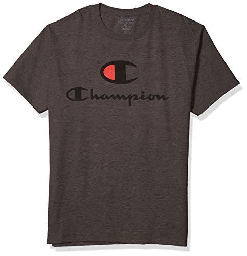 Champion tee Camiseta, Granite Heather – Classic Logo Lockup, M para Hombre