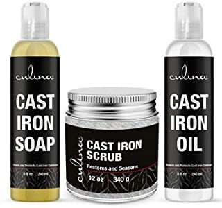 Culina Supreme Cast Iron Care Set: Restoring Scrub, Cleaning Soap & Conditioning Oil | Best for Cleaning Care, Washing & Restoring | 100% Plant-Based | for Cast Iron Cookware, Skillets, Pans & Grills!