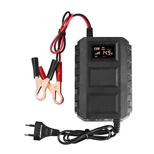 H HILABEE Cargador de Batería de 12 Voltios Carga Inteligente para Motocicletas Protección Contra Sobrecarga de La UE