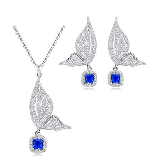 Collar y Pendientes para Mujer 18ct Chapado en Platino Zirconia, Conjunto de Joyas Mariposa de Plata 925 para Mujeres, Jewelers Conjuntos para Mujer, Colgante de Mariposa con Zirconia de Azul