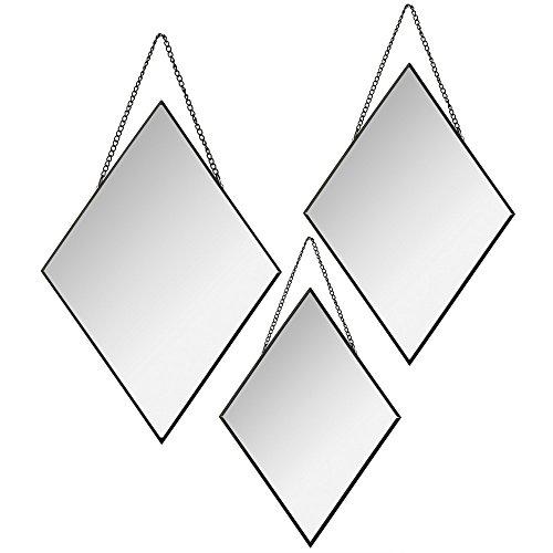 Atmosphera - Set di 3 specchi decorativi, specchi a rombo, specchi decorativi, specchi da parete, cornice specchi, specchi da appendere, specchi moderni