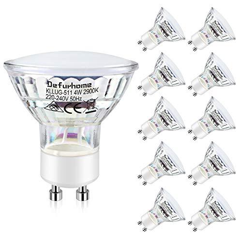 Defurhome GU10 4W LED Lampen, Ersetzt 50W Halogenlampe, 450 LM, Warmweiß 2900K LED Reflektor Lampe,led Birnen, 120 ° Abstrahlwinkel, 10er-Pack