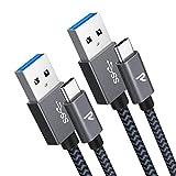 RAMPOW Cable USB C Cable USB Tipo C [2M-2 Unidades] Cargador USB C a USB 3.0 Carga Rápida y Sincronización para Samsung Galaxy, Xiaomi Mi A1/Mi A2, LG, HTC, Sony Xperia XZ y más - Gris Espacial