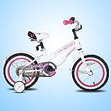 JOYSTAR 14 Inch Girls Bike with Training Wheels & Bell for 3 4 5 Years, Children Beach Cruiser Bicycle with Fender, White