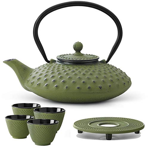 Bredemeijer Teekanne asiatisch Gusseisen Set grün 0,8 Liter mit Tee-Filter-Sieb mit Untersetzer und Teebecher (4 Tassen)