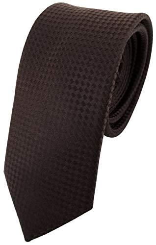 Ohne Markenname étroit Designer cravate en soie brun foncé à pois - cravate en soie silk