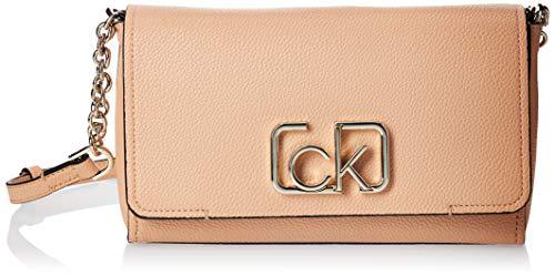Calvin Klein Damen Ck Cast Flap Xbody Umhängetasche, Beige (Dark Sand), 8x16x25 centimeters