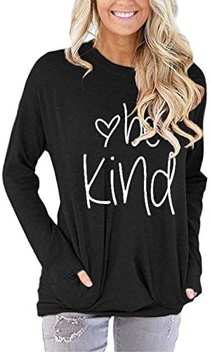 Akihoo Women Be Kind Casual Loose Crew Neck Long Sleeve Blouse Tunics Top T Shirts with Pockets product image