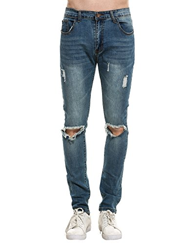 New Men Fashion Slim Mid-waisted Casual Holes Slim Jeans Blue 38