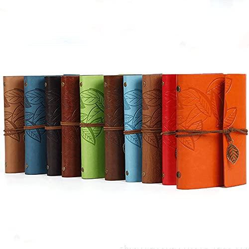 POWERTOOL - Quaderno con copertina in pelle, a righe, motivo con foglie, in stile retrò, vintage, 1 pezzo, colore: Rosso