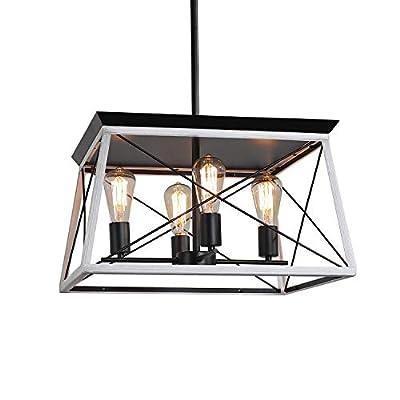 XIPUDA 4-Light Farmhouse Ceiling Pendant Light Fixture Kitchen Island Lighting Antique Industrial Metal Chandeliers
