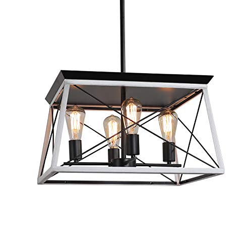 XIPUDA 4-Light Farmhouse Ceiling Pendant Light Fixture Kitchen Island Lighting Antique Industrial Metal Chandeliers (Brushed White) New York