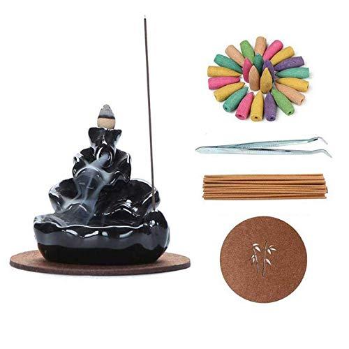 Süßer Keramik-Räuchergefäß mit Wasserfall-Räucherstäbchenhalter, Räucherkegel, Heimdekoration, Geschenke mit 120 Räucherkegeln