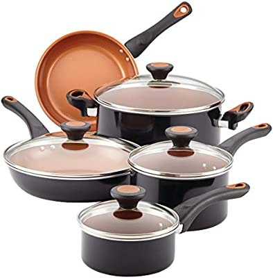 Farberware Glide CopperSlide Ceramic Nonstick 12 Piece Cookware Set (Black)