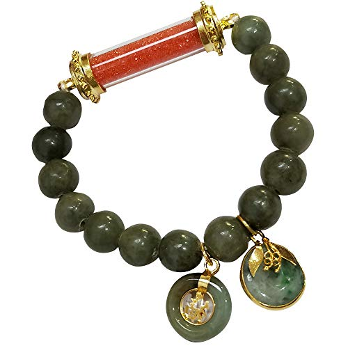 10.00 mm. Buddha Amulet Pendant Natural Green Jade Bracelets for Women Men Charms Colors Phra Sakyamuni Red with Pendant Lucky Coin and Jade Donut Thailand Bring Attract Money Prosperity Luck Success in Life Trade Best Gift