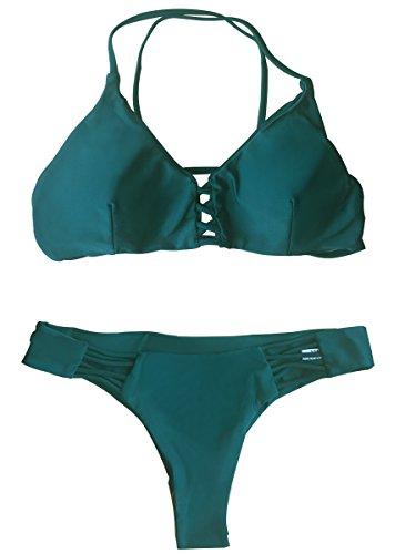 Summer Mae Donna Coordinati da Bikini Imbottito con Lacci e Taglio Capestro