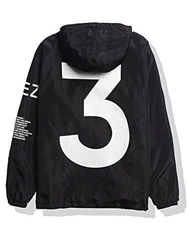 Qingxian Homme Veste à Capuche Coupe-Vent Blouson Hiphop Blouson Windbreaker Anti-UV Imperméable Loisirs Outwear Printemps Eté Automne, Noir, M