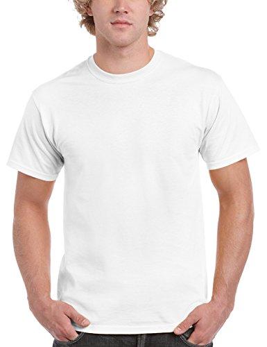 Gildan Herren Adult Heavy Cotton 5000 T-Shirt, Weiß (White 30), Large (Herstellergröße: L)