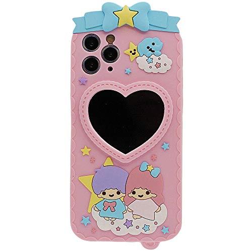 Diseñado para iPhone 11 Pro Funda de Silicona con Espejo, Case para Niña Mujer Rosa Carcasa Protectora Suave Elástico Drop-Protección Absorción de Impacto Antigolpes iPhone 11 Pro Case 5.8 Pulgadas