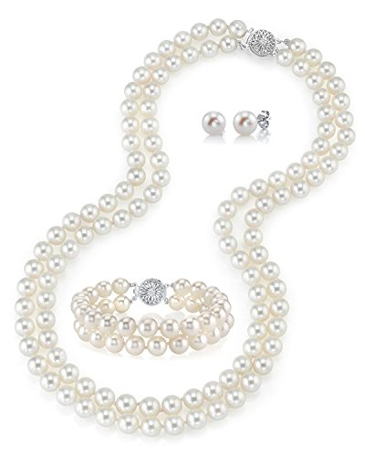 THE PEARL SOURCE 14K Gold 6.5-7mm Round White Freshwater Cultured Pearl Double Strand Necklace, Bracelet & Earrings Set in 16' Choker Length for Women