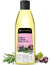 Soulflower Cold Pressed Castor & Rosemary Hair Nourishment Oil, Pure Castor & Rosemary Oil For Hair Growth & Hair Loss, 6.77 Fl.Oz/ 200ml, Natural Hair Oil, BONUS Nozzle
