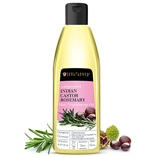 Castor Rosemary Hair Oil by Soulflower for Hair Growth, Control Hair Loss, Nourishment - Organic, 100% Pure, Natural Cold Pressed Hair Oil - 6.77 Fl Oz