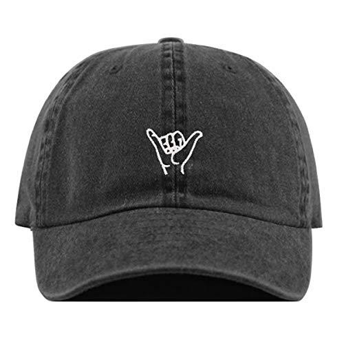 Hang Loose Baseball Hat, Embroidered Dad Cap, Unstructured Soft Cotton, Adjustable Strap Back (Multiple Colors) (Pigment Black)