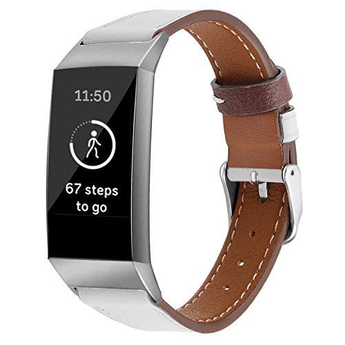 Correas de Reloj de Cuero Compatible con Fitbit Charge 4 / Charge 4 SE/Charge 3 SE/Charge 3, Classicase Bandas de Reloj de Piel de Becerro auténticas de la Vendimia Hombres Mujeres (Pattern 3)