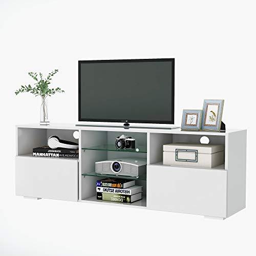 Joycelzen - Mueble para televisor (130 cm, con luces LED RGB de 16 colores, almacenamiento de pie, frontal negro brillante y placa mate para muebles de salón)