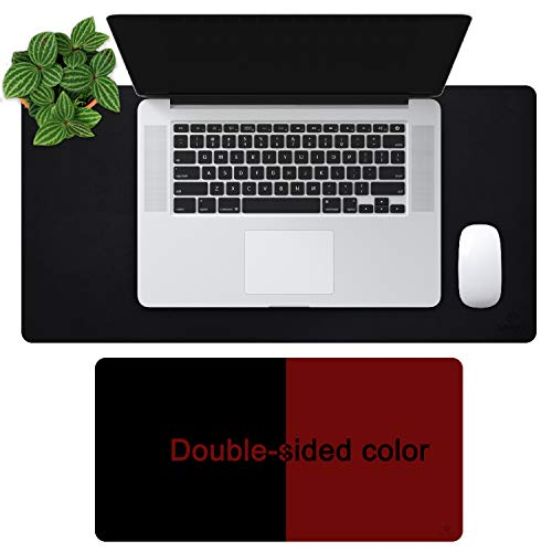 """OFFIDIX Office Desk Mat, 24""""x12""""Inches Non-Slip PU Leather Two Colors Desk Mouse Mat Dual-Sided Waterproof Desktop Pad Protector Gaming Writing Mat for Office and Home (Black&Wine Red, 24""""x12"""")"""