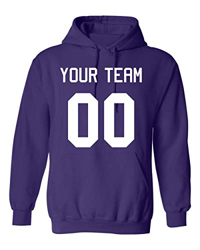 Add Your Own Name And Number Custom Jersey Sports Pullover Sweatshirt Hoodie (Medium, Purple)