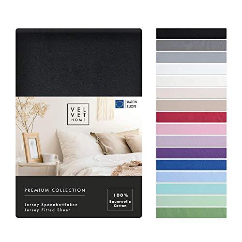 Spannbettlaken 180x200cm 165g/m2, Bettlaken 180x200 Baumwolle mit Einem Gummizug - von Premium Qualität / Spannbetttuch Jersey mit Schönen Farben (Schwarz, 180 x 200 +30)