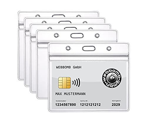 5 fundas para tarjetas de identificación con cremallera, horizontales, impermeables, para tarjetas de identificación y identificación, flexible, 0,80 mm de grosor, transparente