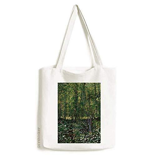 Sacola de lona com ilustração de paisagem e floresta, bolsa de compras casual
