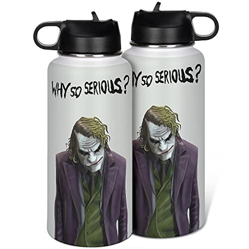 borraccia termica joker Cyliyuanye Clown Joker - Borraccia termica con coperchio in paglia in acciaio inossidabile