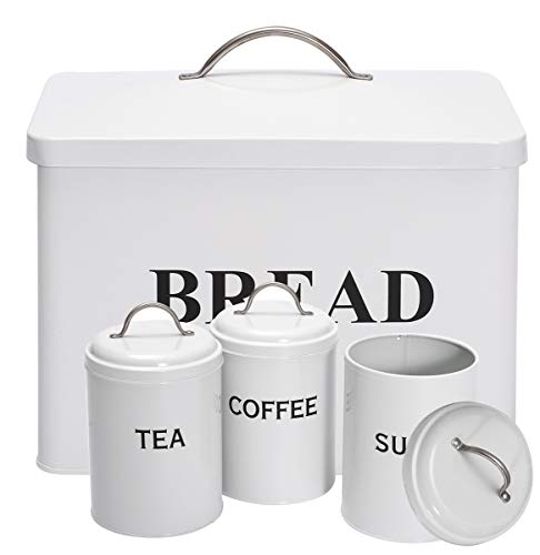 Bread Bin Loaves Storage Canister Tins and 3 Piece Kitchen Canister Set - Tight Fitting Lids - Countertop Space-Saving, Carbon Steel Safty - White