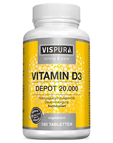 VISPURA® Vitamin D3 hochdosiert 20000 IE pro Tablette (20-Tage Dosis) 180 vegetarische Tabletten (teilbar) ohne Magnesiumstearat in deutscher Premium-Qualität