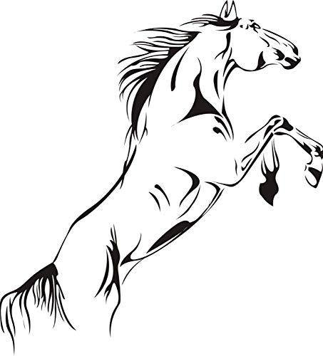Muursticker paard yang zweep trendy binnenruimten glas woonkamer decoratie PVC op maat gemaakt 91 cm x 40 cm