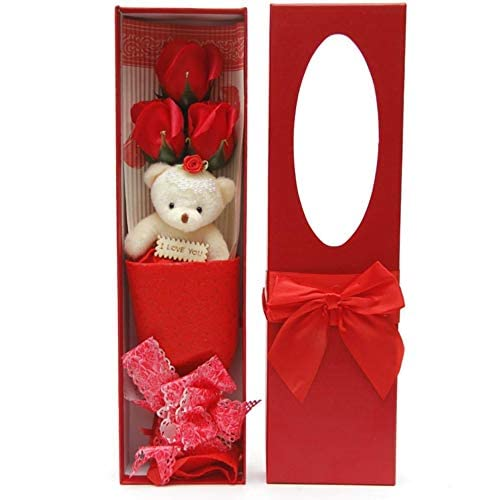 d06d040e25d Adabele Gifts I Love You Red Flower Bouquet Scented Soap Roses with Cute  Teddy Bear Long