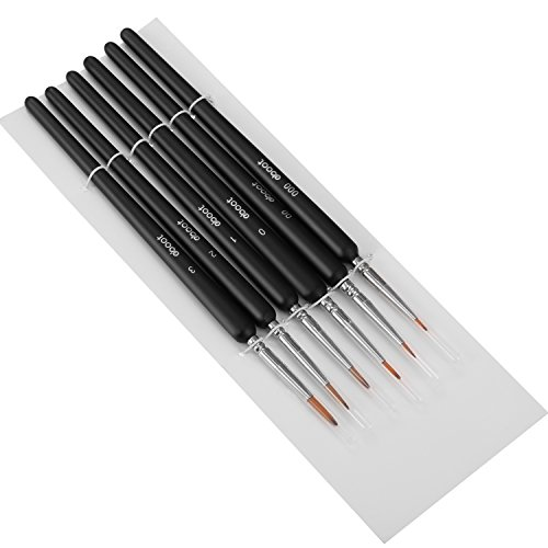 eBoot 6 Pieces Detail Paint Brush Set Miniature Brushes for Watercolor and Acrylic Painting (Black)